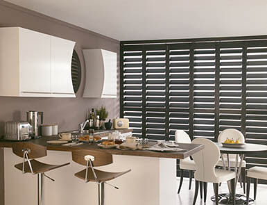 Discovery Blinds and Shutters Grovewodd Black Walnut Wooden Shutters
