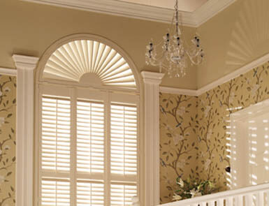 Discovery Blinds and Shutters Grovewood Wooden Crisp Linen Shutters