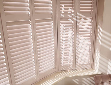 Discovery Blinds and Shutters Grovewood Latte Wooden Shutters